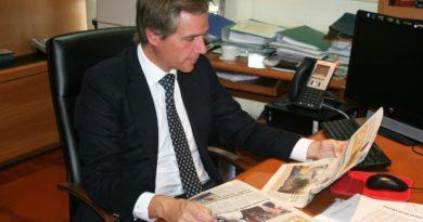 El alcalde de Boadilla, Antonio González Terol, durante la entrevista.