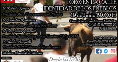 """La Asociación Cultural Taurina 'Sierra de Guadarrama' organiza la charla """" Toro en la calle , identidad de los pueblos"""""""